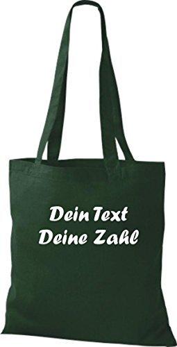 ShirtInStyle Stoffbeutel Baumwolltasche mit deinem Wunschtext veredelt Farbe Gruen gruen