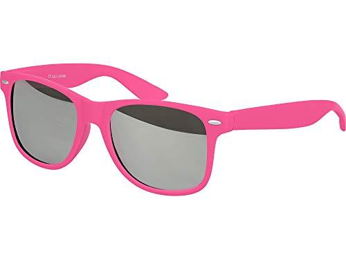 Balinco Hochwertige Nerd Sonnenbrille Rubber im Wayfarer Stil Retro Vintage Unisex Brille mit Federscharnier - 96 verschiedene Farben/Modelle wählbar (Pink - Silber verspiegelt) -