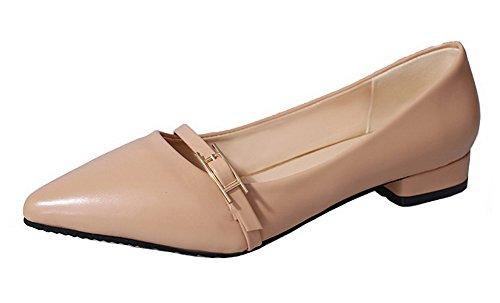 AgeeMi Shoes Femme à Talon Bas Fermeture D'Orteil PU Cuir Chaussures Légeres