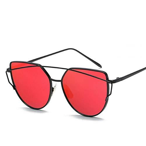 GAOHAITAO Fashion Cat Eye Rose Gold Mirror Woman's Sunglasses Metal Reflective Flat Lens Tourism Sunglasses Multi-Color,Black-red