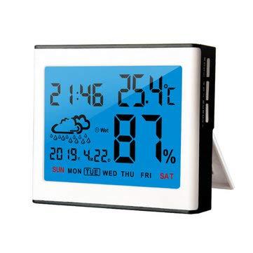 CCChaRLes Digitaler Lcd-Wettertemperatur-Luftfeuchtigkeitssensor Meter Indoor Outdoor Hygrometer - Weiß -