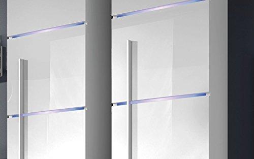 Wohnwand B Schwarz+ Weiß Hochglanz✔ Glastüren ✔ Edel ✔ LED Beleuchtung ✔ Modern ✔ Design - 2