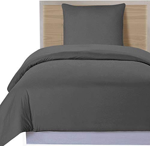 Utopia Bedding 2 Stück Bettbezug-Set - Bettbezug Plus 1 Kissenbezüge, Luxus-Soft-Hotel-Qualität Falten, verblassen und Flecken resistent (Bettbezug 135x200 cm 1 Kissenbezug 80x80 cm, grau)