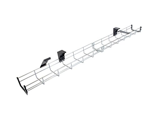 120cm Long Under Desk Basket Cable Tray Galvanized Steel Mesh Cord Management Rack w/ Mounting Bracket, Cover & End cap (Kabelkorb) - Boden Cord Cover