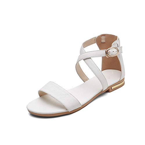 Women 2019 hot Summer Cow Leather Flat Sandals Womens Fashion Ladies Ankle warp Sandal Woman sexy Casual Flats Party Shoes White 5