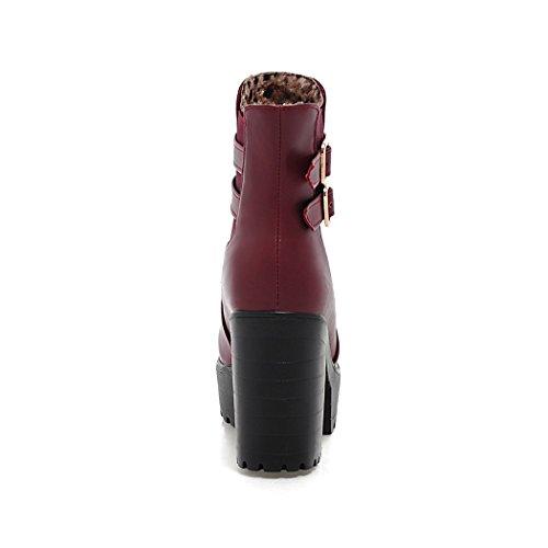 ZQ@QXIn autunno e in inverno, testa tonda impermeabile dello spessore di Taiwan con europei e della moda Americana fibbia cintura Stivali Stivali femmina WineRed