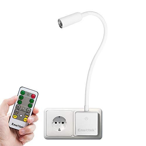 Weiß LED Nachttischlampe Nachtlicht Steckdose Lampe Schwanenhals Dimmbar mit Fernbedienung 3W 280Lm Tageslicht 5000K 1er Lampe und 1er Fernbedienung von Enuotek