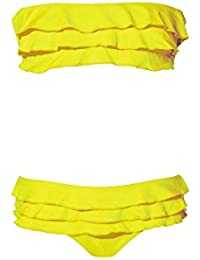 Maillot de bain onda de mar jaune bandeau avec volants