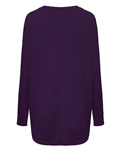 ZANZEA Donna Maglia a Manica Lunga Cardigan Asimmetrico Camicia Pullover Camicetta Superiore Viola 2