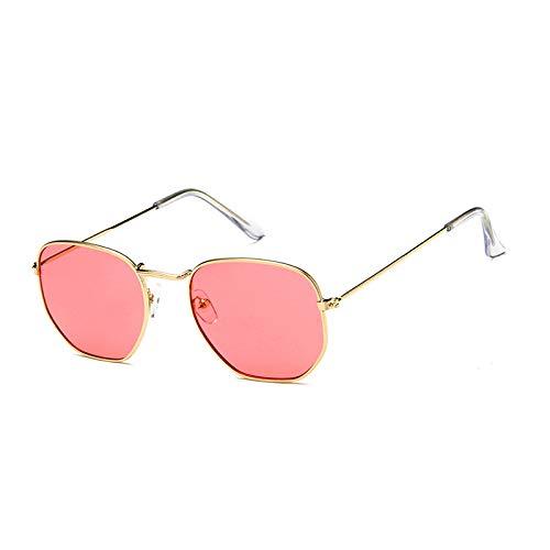 SUNGLASSES New Big Box Metall Sonnenbrille Männer Und Frauen Mode Sonnenbrillen Persönlichkeit Bunte Gläser Retro Sonnenbrille Flut (Farbe : Gold Frame red Film)