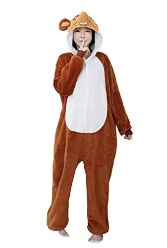 URVIP Neu Unisex Adult Pyjama Cosplay Tier Onesie Body Nachtwäsche Kleid Overall Animal Sleepwear Schlafanzug mit Kapuze Erwachsene Cosplay Kostüm Braun-EIN-Ohr Maus M (Männliche Bauarbeiter Kostüm)