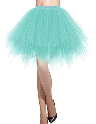 Dresstells Damen Tüllrock 50er Rockabilly Petticoat Tutu Unterrock Kurz Ballett Tanzkleid Ballkleid Abendkleid Gelegenheit Zubehör LightBlue XL