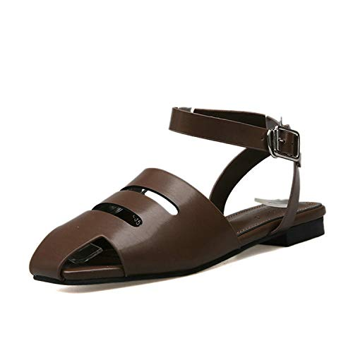 EARIAL& 2019 New Summer Vintage Sandals Women Flat Heels Ankle Strap Brown Shoes Woman Peep Toes Fringe Sandal for Female Chocolate 7 - Chocolate Brown Croc