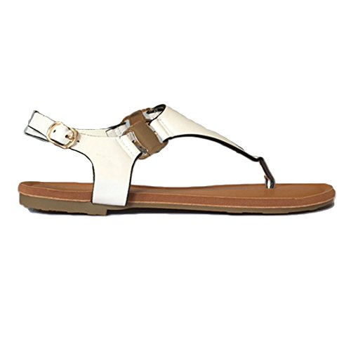 TOSKATOK® Ladies Femmes à Bout Ouvert Thong Sandales DÉté Flip Flop avec Strape Cheville Chaussures Plates white