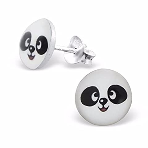Silvadore - Panda Bear Studs - 925 Sterling Silver Childrens Logo Earrings - Butterfly Clasp - Free Gift Boxed