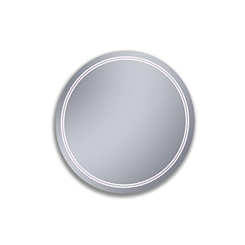 Kristaled Duarte 60 cm diametro Espejo de Baño Estriado con Luz Led, Cristal, Plateado, 60x80x2.5 cm...