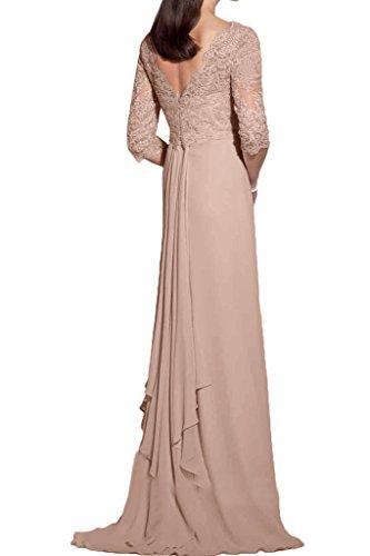 Gorgeous Bride Elegant Brautmutterkleider Halb Aermel Etui Chiffon Spitze Lang Abendkleider Cocktailkleid Ballkleider Champagner