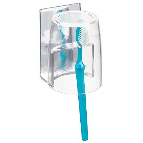 mDesign Zahnbürstenhalter mit Becher - hochwertiger Zahnputzbecher fürs Spiegelschränkchen - Selbstklebende Halterung für Zahnbürsten aus BPA-freiem Kunststoff - durchsichtig