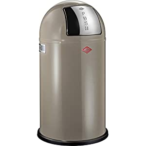 Wesco Pushboy 50L Bin, Steel, Warm Grey, 40 x 40 x 77.5 cm