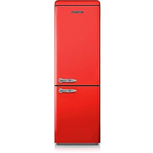 SCHNEIDER SCB250VR Réfrigérateur combiné inversé Vintage 250 litres (178 litres + 72 litres) - coloris Rouge - A+ (Rouge)