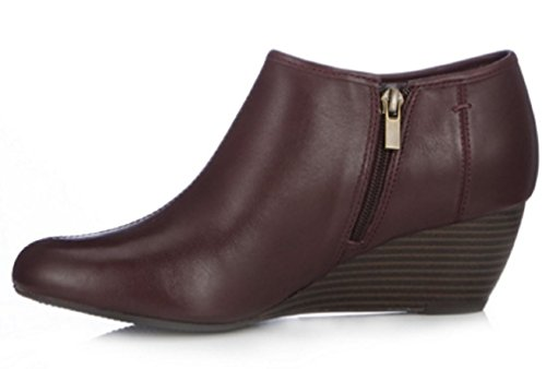 Clarks Brielle Abby Wedge Bootie Wide Fit Burgundy