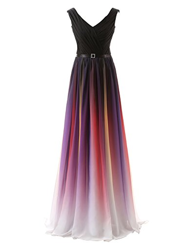 Clearbridal Damen Formale Chiffon Abendkleid Farbverlauf Bandage Maxikleid Brautjungfer Kleid SD341...