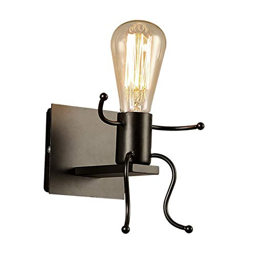 Goeco Lampada da parete Robot, Applique da parete nero stile creativo contemporaneo e retrò, Applique da parete per comodino camera da letto per bambini
