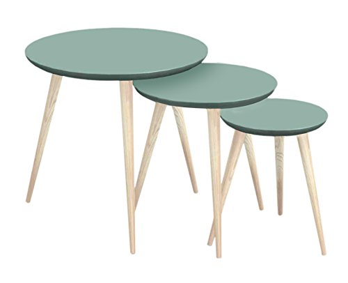 Tosel Maria, Tables gigogne Ronde Bois Massif, Naturel, 45 x 45 x 45 cm