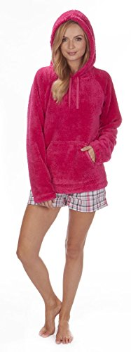 Frauen Snuggle Molton oben Kapuze Winter Wohnzimmer Kapuzenpullover komfortabel Sweatshirt Kapuze HOT PINK HOODY