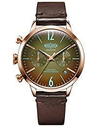 Welder Moody - Orologio in pelle marrone scuro, doppio fuso orario, con...