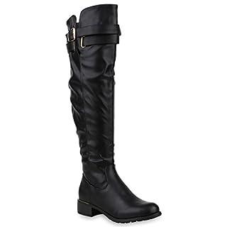 Damen Stiefel Overknees Metallic Schnallen Leder-Optik Schuhe 153490 Schwarz Metallic Metallic 39 | Flandell®