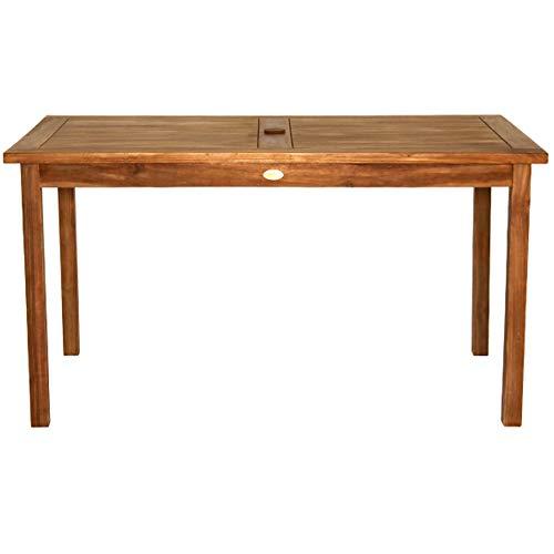 Gartentisch Holz massiv rechteckig Teakholz unbehandelt 140x80cm Schirmloch Esstisch - Kenny
