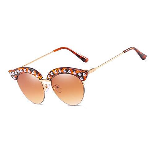 Kjwsbb Perle Augenbrauen SonnenbrilleFrauen semi-randlose Brille Designer Mode weiblicheVintage Shades