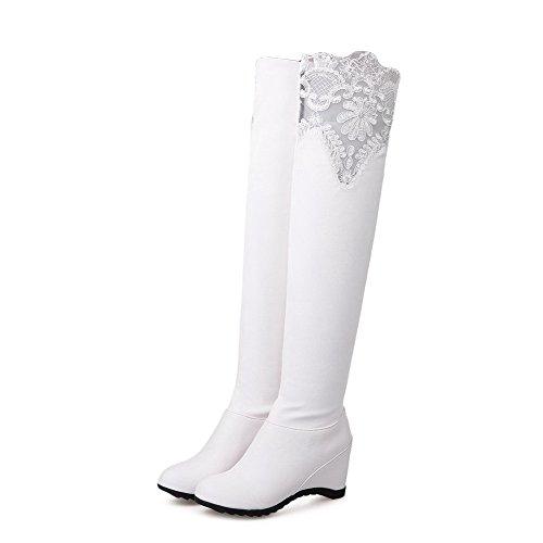 AllhqFashion Damen Ziehen Auf Hoher Absatz Pu Rein Hoch-Spitze Stiefel Weiß