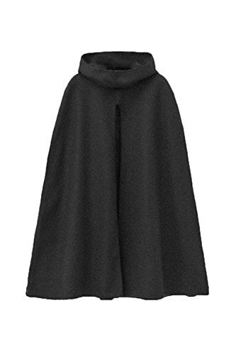 Le Donne Lo Stile Britannico Incappucciato Tunica Inverno Impermeabile Mantello Outwear Black