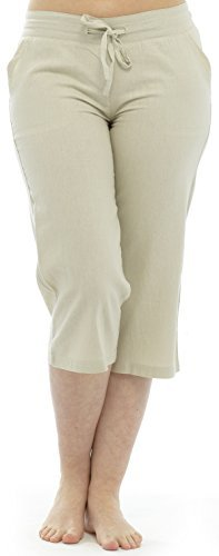 ladies-100-linen-cotton-summer-3-4-three-quarter-length-cropped-trousers-bottoms-pants-tie-waist