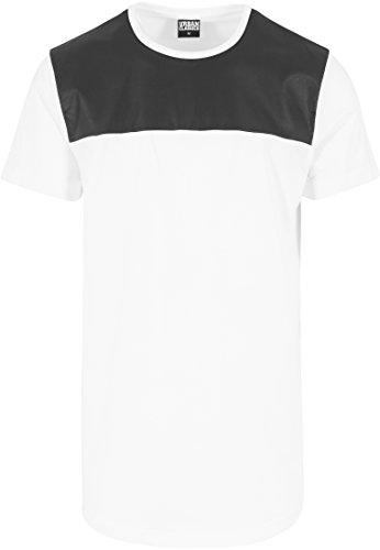 Urban Classics Herren Langarmshirt T-Shirt Shaped Shoulder Leather Imitation Tee Wht/Blk