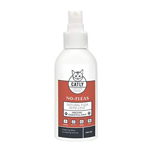 Flohspray von CATLY No-Fleas 100 ml I Mittel gegen Flöhe I Flohmittel für große und kleine Katzen I Nachhaltige Alternative zu Katzen Flohhalsband & Flohfalle I Natürliches Katzenzubehör