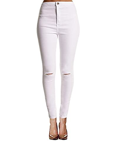 ISASSY Women's Sexy Ripped Knee cut Skinny High Waisted Stretch Jeans Jeggingsleggings Slim Pencil Trousers White