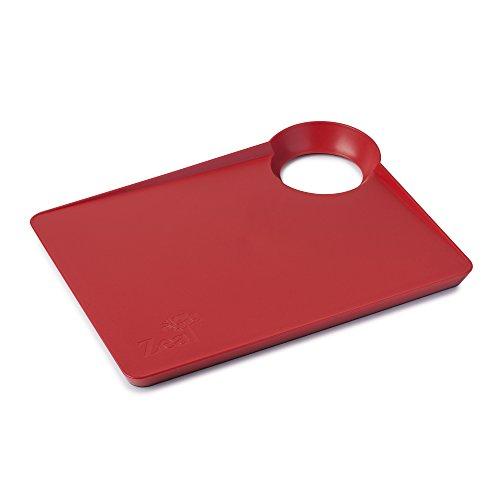 Zeal Dritto a Padella Cucina Tagliere con Antiscivolo Base-Small (33cm/34cm), Rosso, 33.5x 25.5x 3cm