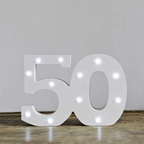 LED 50th Birthday White Wooden Age Numbers