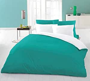 6PC Reversible Complete Duvet Cover + Fitted Sheet Bedding Set Double Teal White