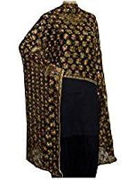 Beautiful Embroidered Kanchan Phulkari Dupatta In Black Colour Chifon Fabric