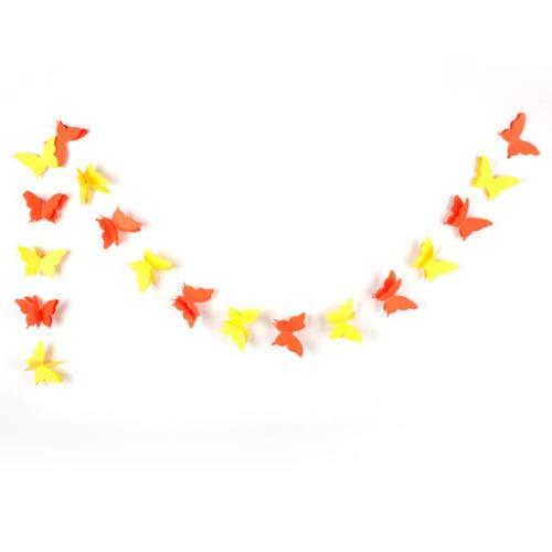 PERIWIN Guirlande en Papier 3D Papillon Guirlande de Mariage Anniversaire Fête Bannière Décoration Chambre Enfant Blanc Vert