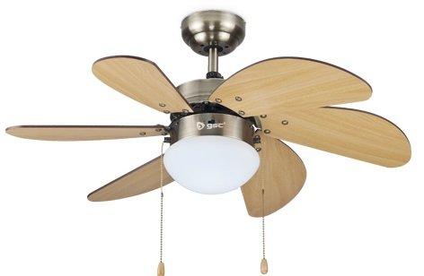 Garsaco GS2834 Ventilador techo con Luz 32' 6 aspas madera Haya Haya, Metal