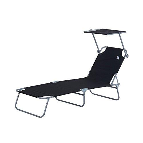 Outsunny Sonnenliege Gartenliege Wellnessliege Strandliege klappbar mit Sonnenschutz, schwarz 187x58x27 cm
