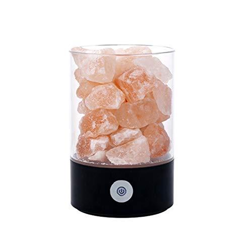 Missley USB Romantique Veilleuse Cristal LED Lampe de sel Négatif Ion Air Purification Lampe Coloré Table Lumière Déocrations pour Chambre Salon (Noir)