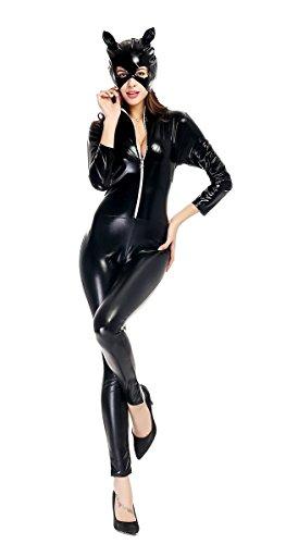 Vogvigo Cosplay Kostüm für Halloween Parteien Leder Katze Mädchen Motorrad Jacke (Halloween Motorrad Mädchen Kostüm)