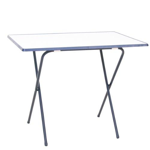 greemotion Scherentisch in Weiß/Blau, Gartentisch 60 x 80 cm, Balkontisch klappbar, Beistelltisch mit Holz-Kunststoff Sevelit Tischplatte, Kleiner Tisch für Camping, Multifunktionstisch witterungsbeständig