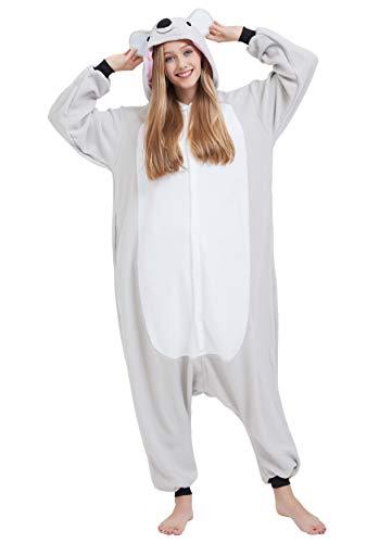 Jumpsuit Onesie Tier Karton Kigurumi Fasching Halloween Kostüm Lounge Sleepsuit Cosplay Overall Pyjama Schlafanzug Erwachsene Unisex Grau Koala for Höhe 140-187CM